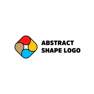 Abstract shape logo isolated vector. Red yellow blue brown color. Colorful unusual drop icon. Black counter. lineart design. Abstract circular logo.