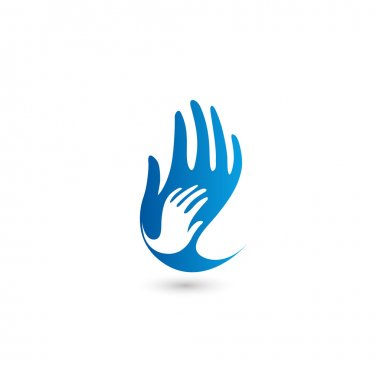 Isolated blue and white vector hands logo. Mothercare sign. Orphanage emblem. Caring parents. Childish hand. Adopted child. Bringing up. Support symbol. Helpful people.