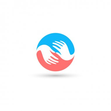 Isolated blue and pink round vector logo. Global communication.Helpful people.White hands.Mercy sign.Refugee camp emblem.Round the world. Blue Earth. Round shape. Support illustration.  Family image.