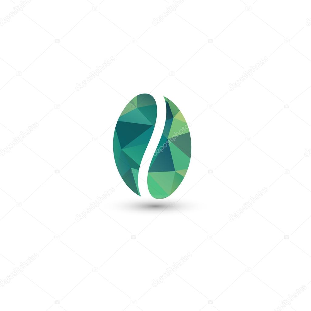 Isolated green vector coffee bean logo. Energetic drink symbol. Energy sign. Coffee break icon. Natural product. Eco plant. Organic design. Morning drink element.