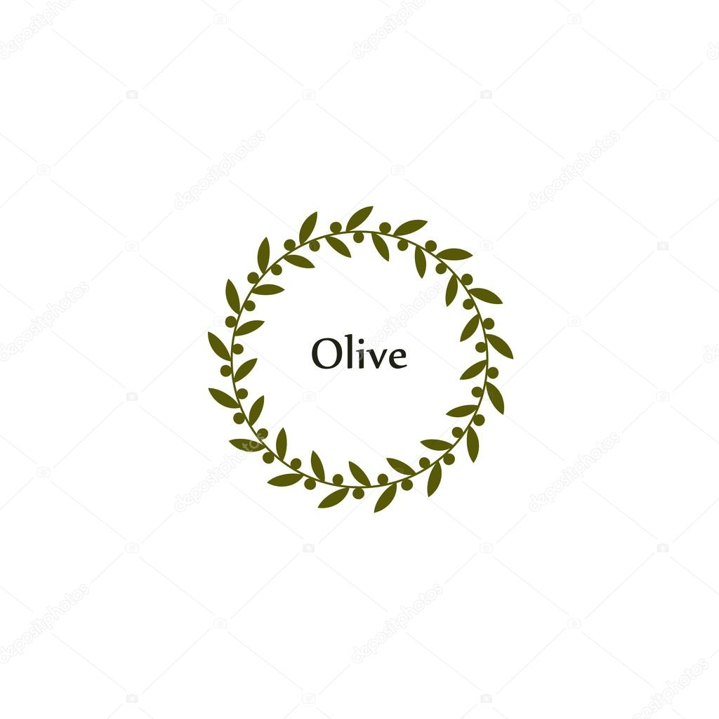 Isolated round green olive branch vector logo. Circlular shape. Olive oil sign. Symbol of peace. Greek mythology sign. Healthy products label. Organic cosmetics. Natural element.Agricultural item