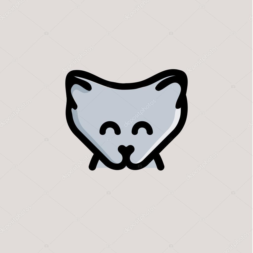 Louveteaux De Couleur Grise Isolé Sur Fond Gris Logo