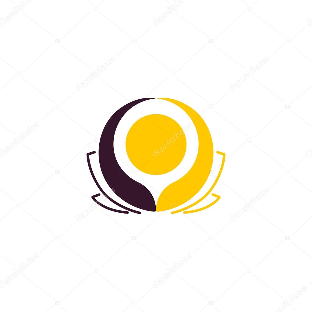 Isolated Abstract Round Shape Flower Vector Logo Unusual Yellow