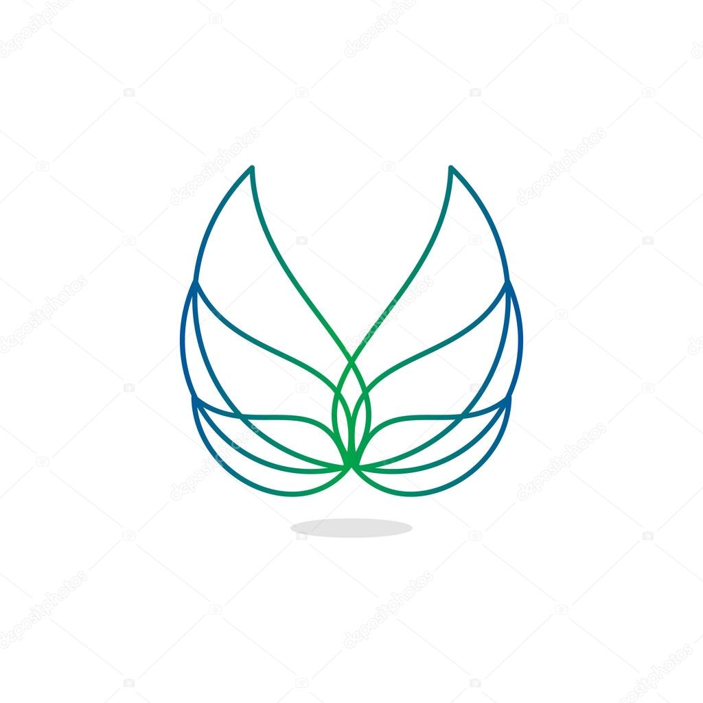Beauty, isolated, vector, geek, light angel wings, lineart, outline, flat, stylish, elegant, classic stylized logotype, green, blue gradient color logo template, wings, feathers, line element logo