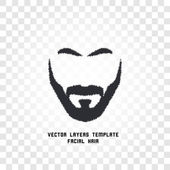 Isolated face with mustache and beard vector logo. Men barber shop emblem.