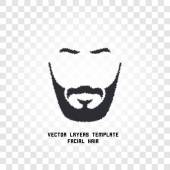 Fotografie Isolated face with mustache and beard vector logo. Men barber shop emblem.