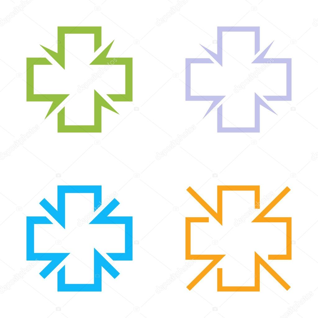 Isolated Colorful Cross Vector Logo Set Medical Signs Contour