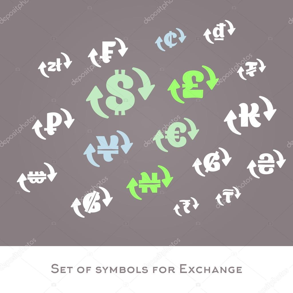 Isolated currency exchange signs vector set international money isolated currency exchange signs vector set international money symbols dollar euro pounds yuanruble zloty vector icons vector by artyway biocorpaavc Gallery