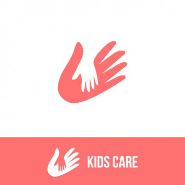 Isolated child and adult hands vector logo. Negative space icon. Family sign.