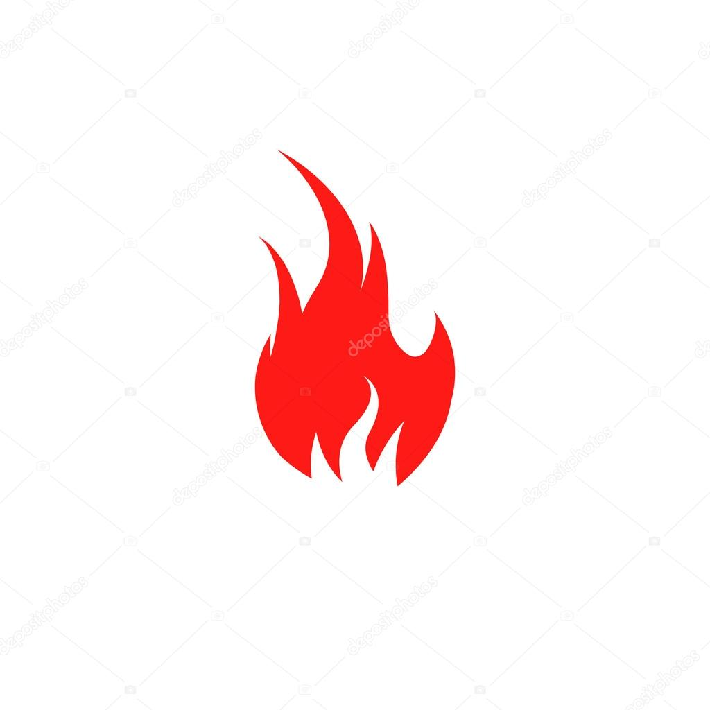 isolated red color flame on the white background vector