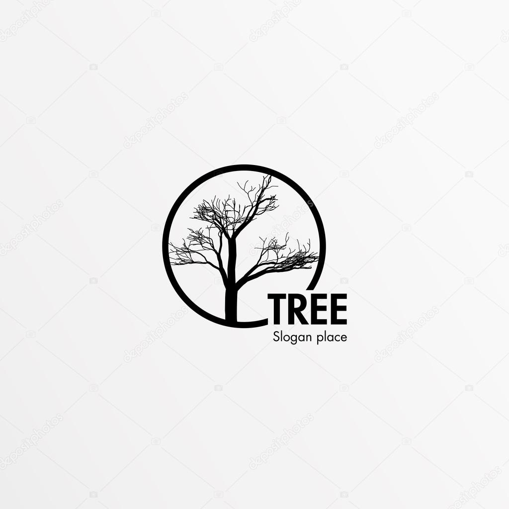 Mystical, isolated, single, beauty, bald tree. Black round frame. Round vector shape. Stylish, minimalistic,lineart,outline,contour, flat, round, flourish stylized logotype. Black color logo template.