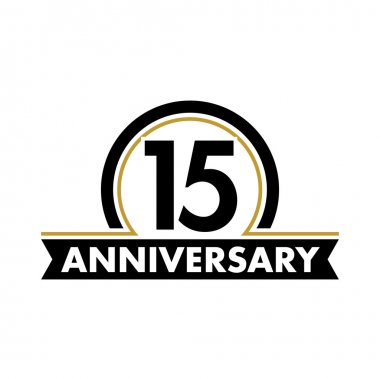 Anniversary vector unusual label. Fifteenth anniversary symbol. 15 years birthday abstract logo. The arc in a circle. 15th jubilee.