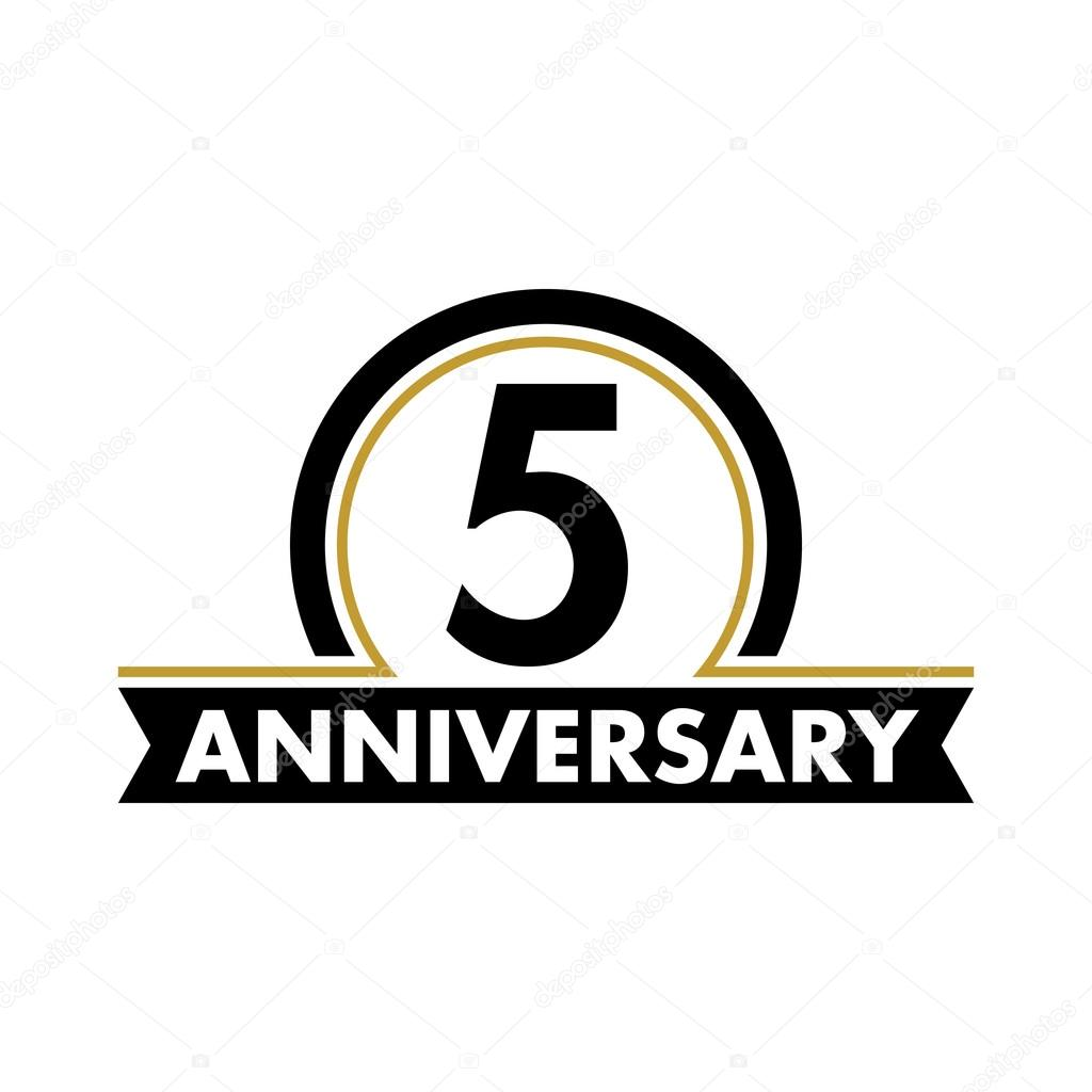 Anniversary Vector Unusual Label Fifth Anniversary Symbol 5 Years