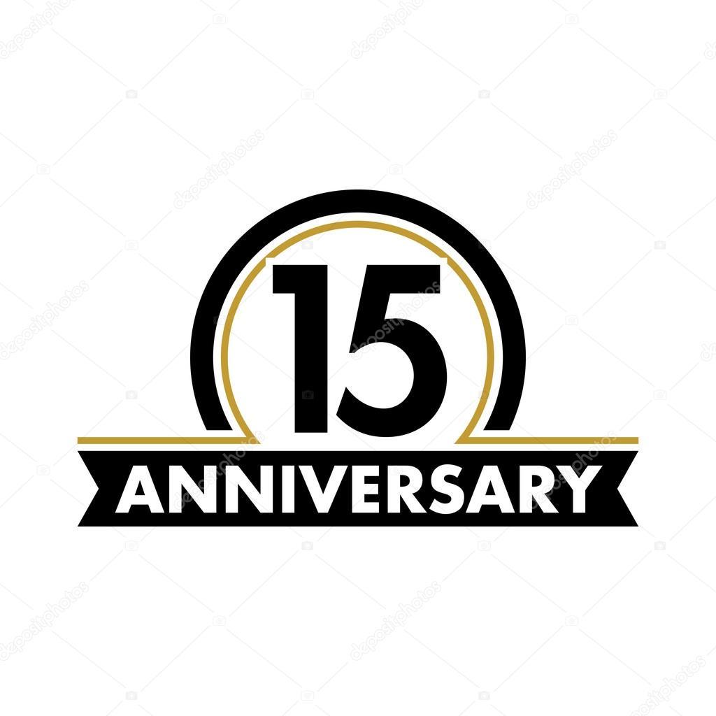 Anniversary Vector Unusual Label Fifteenth Anniversary Symbol 15