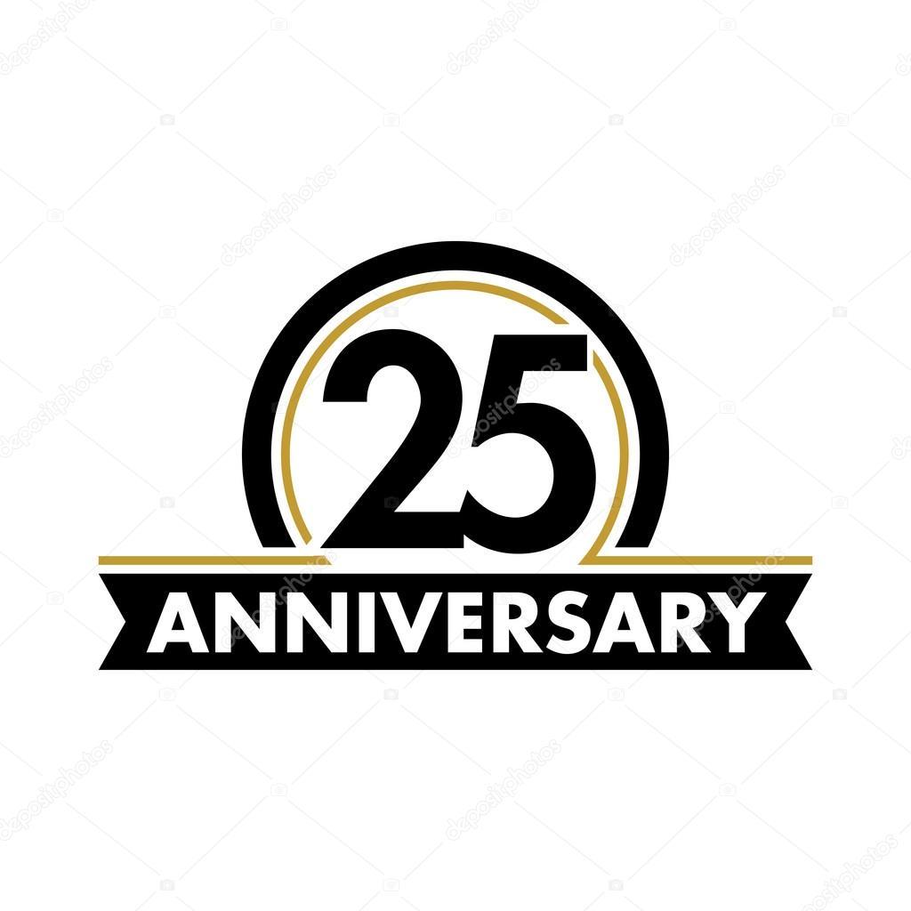 Anniversary vector unusual label twenty fifth