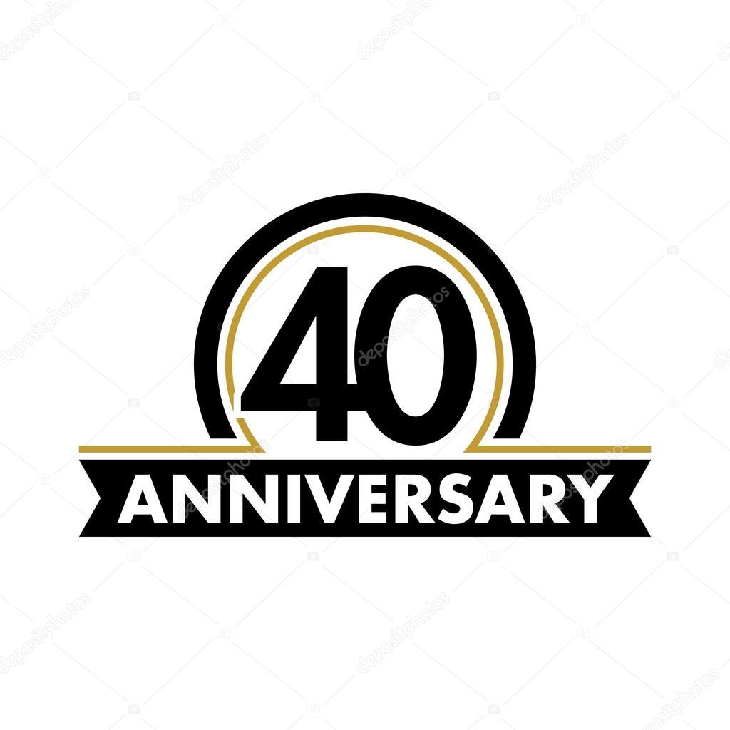 Anniversary Vector Unusual Label Fortieth Anniversary Symbol 40