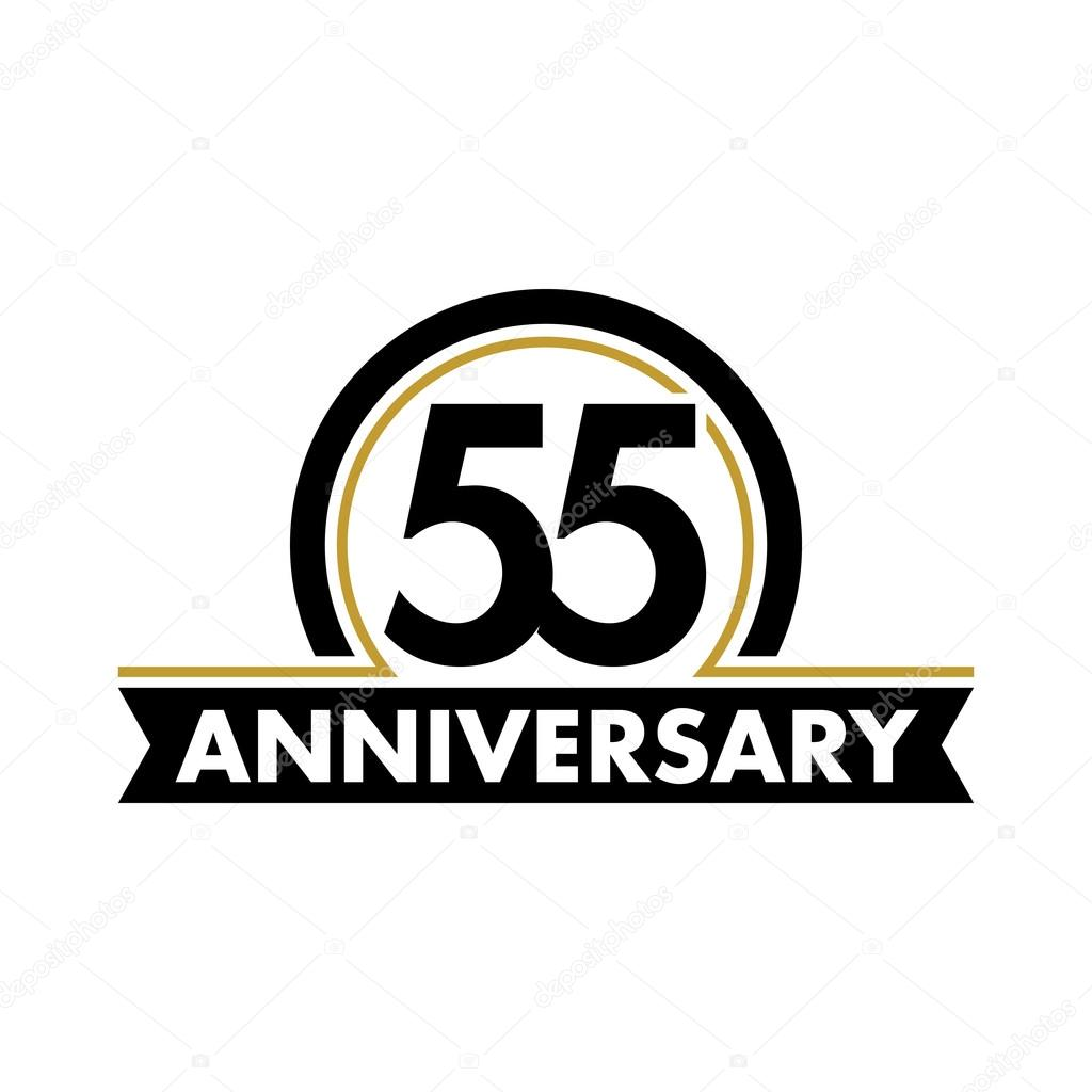Anniversary Vector Unusual Label Fifty Fifth Symbol 55 Years Birthday Abstract Logo The Arc In A Circle