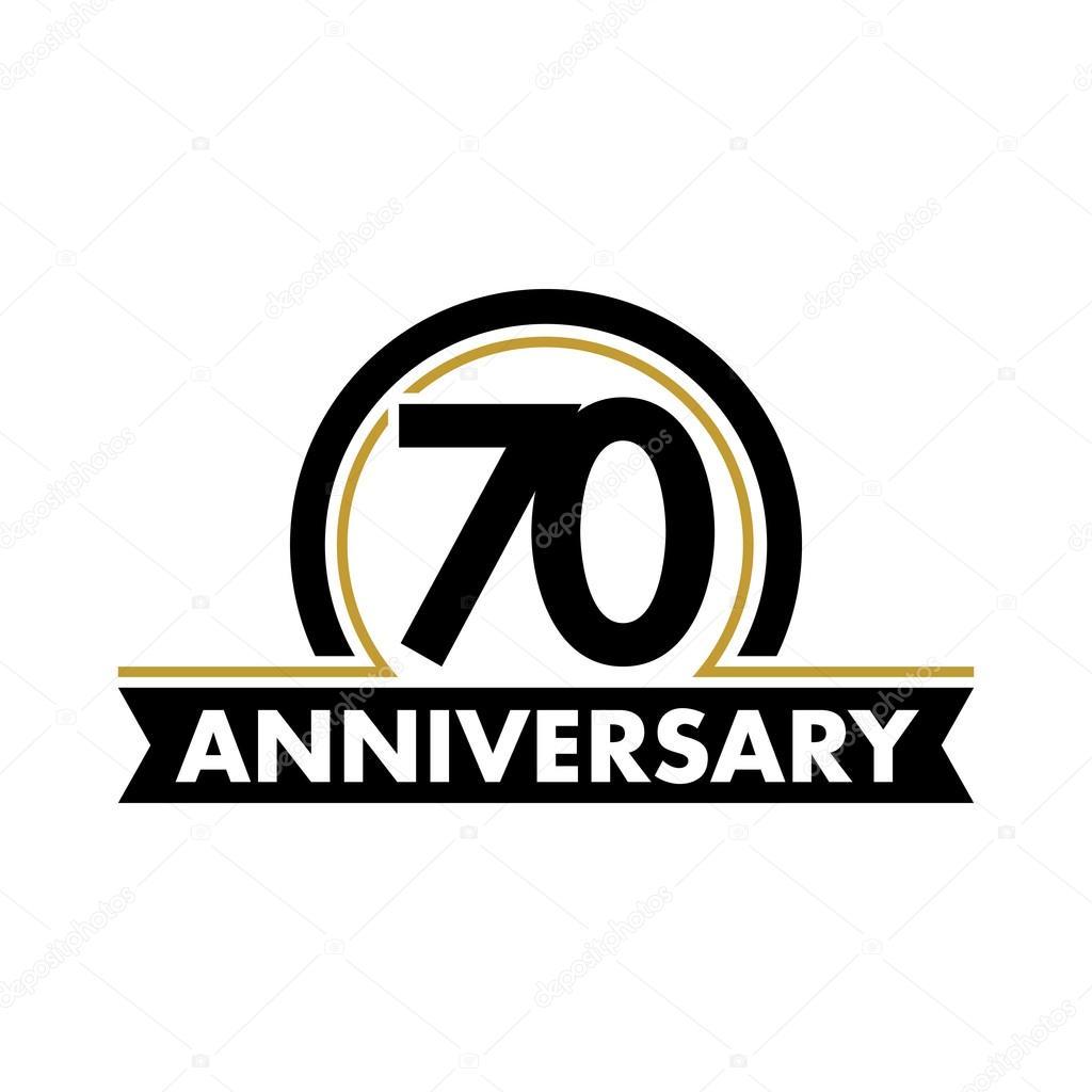 Anniversary Vector Unusual Label Seventieth Anniversary Symbol 70