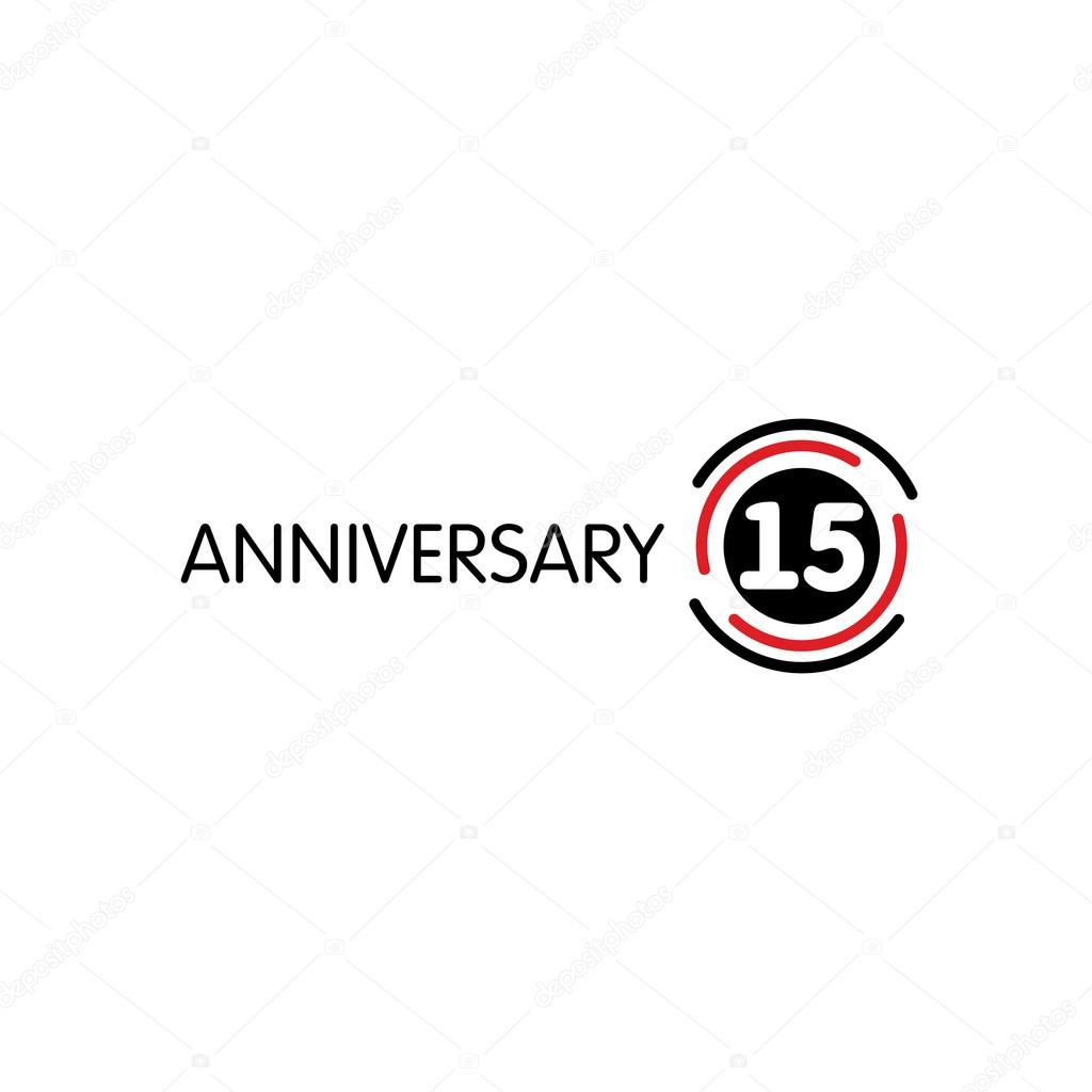 Anniversary Vector Unusual Label Fifteenth Anniversary Symbol 15