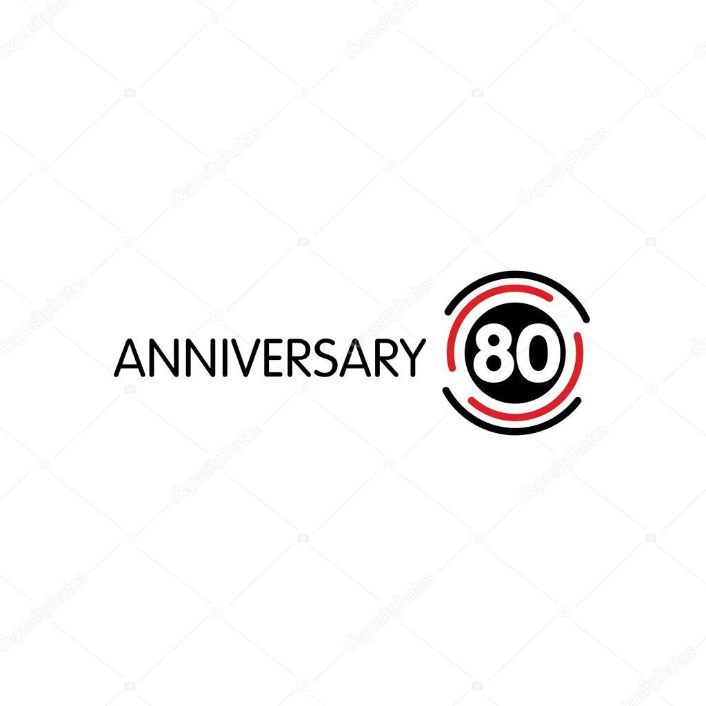 Anniversary Vector Unusual Label Seventieth Anniversary Symbol 80
