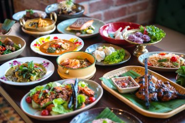 Table with Thai foods
