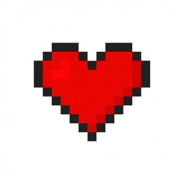 Heart isolated icon. Retro love pixel art. Vector illustration in flat style icon