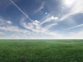 Panoramatický obraz zeleného trávníkového pole a zatažené oblohy s kopírovacím prostorem