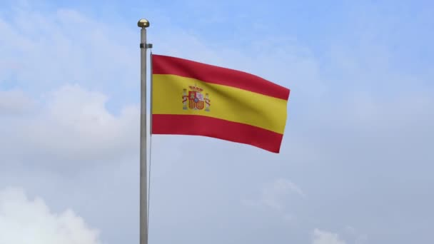 Spanyol zászló lobogott a szélben kék égbolttal és felhőkkel. Spanyol zászló fúj, puha és sima selyem. Ruha szövet textúra zászlós háttér. Használja a nemzeti nap és az ország alkalmakkor koncepció.-Dan
