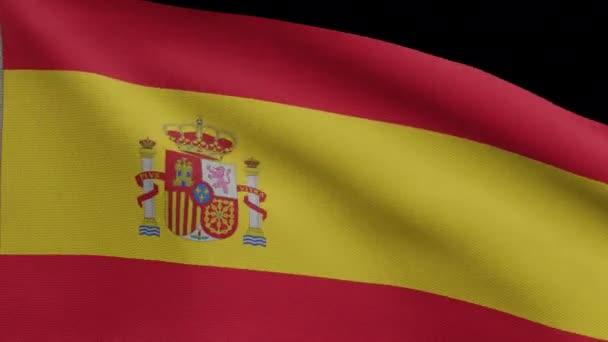 A spanyol zászló Alfa-csatornája integet a szélben. Közelkép Spanyolország banner fúj, puha és sima selyem. Ruha szövet textúra zászlós háttér. Használja a nemzeti nap és az ország alkalmakkor - Dan