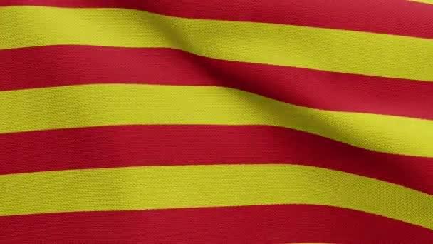 Katalónia független zászló lengett a szélben. Katalán zászló fúj, puha és sima selyem. Ruha szövet textúra zászlós háttér. Használja a nemzeti nap és az ország alkalmakkor koncepció.-Dan