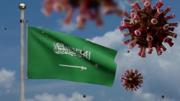 Flu coronavirus floating over Kingdom Saudi Arabia flag, pathogen that attacks the respiratory tract. KSA banner waving with pandemic of Covid19 virus infection concept. Fabric texture ensign-Dan