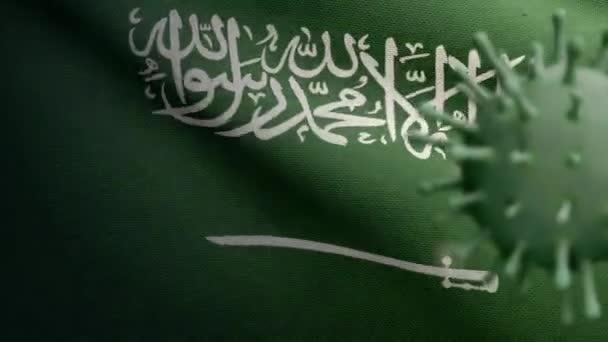 3D illustration Kingdom Saudi Arabia flag waving with Coronavirus outbreak infecting respiratory system as dangerous flu. Influenza Covid 19 virus with national KSA banner blowing background-Dan