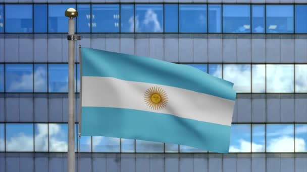 Argentinian flag waving in a modern skyscraper city. Beautiful tall tower Argentine banner blowing soft silk. Cloth fabric texture ensign background in the financial district.-Dan