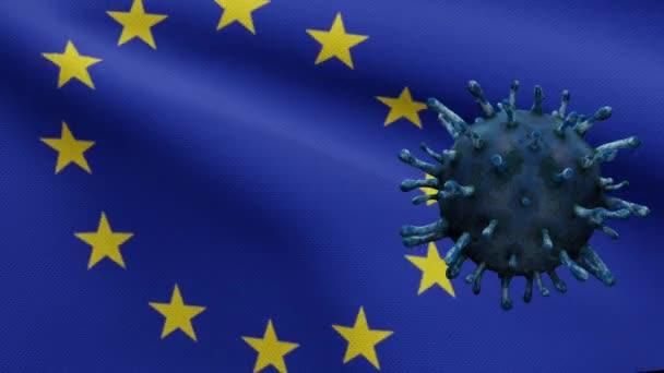 3D illustration European Union flag waving and Coronavirus 2019 nCov concept. Outbreak in Europe, coronaviruses influenza as dangerous flu strain cases as pandemic. Microscope virus Covid 19-Dan