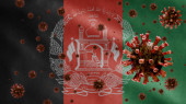 3D, Afghan flag waving with Coronavirus outbreak infecting respiratory system as dangerous flu. Influenza type Covid 19 virus with national Afghanistan banner blowing background. Pandemic risk concept