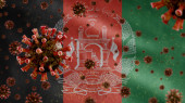 3D, Flu coronavirus floating over Afghan flag, a pathogen that attacks the respiratory tract. Afghanistan banner waving with pandemic of Covid19 virus infection concept. Real fabric texture ensign