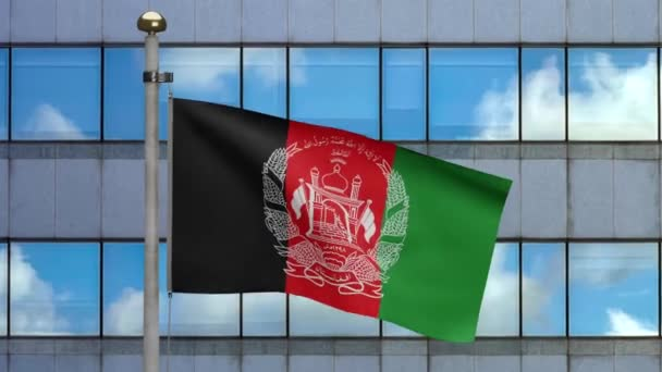 3D, Afghan flag waving on wind with modern skyscraper city. Afghanistan banner blowing, soft and smooth silk. Cloth fabric texture ensign background. National day and country occasions concept.-Dan