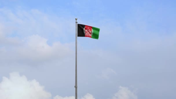 3D, Afghan flag waving on wind with blue sky. Close up Afghanistan banner blowing, soft and smooth silk. Cloth fabric texture ensign background. National day and country occasions concept.-Dan