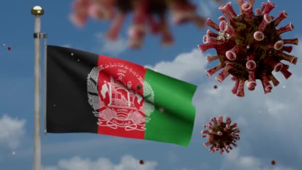 3D, Afghan flag waving with Coronavirus outbreak infecting respiratory system as dangerous flu. Influenza type Covid 19 virus with national Afghanistan banner blowing background.-Dan