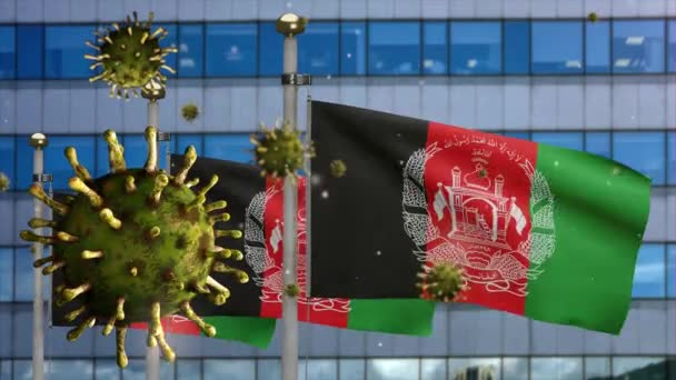3D, Afghan flag waving with modern skyscraper city and Coronavirus outbreak infecting respiratory system as dangerous flu. Covid 19 virus with national Afghanistan banner blowing background-Dan