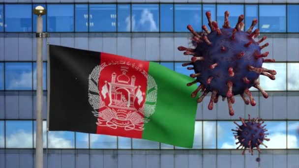 3D, Afghan flag waving with modern skyscraper city and Coronavirus 2019 nCov concept. Asian outbreak in Afghanistan, coronaviruses influenza as dangerous flu strain cases as a pandemic.-Dan