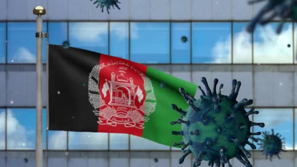 3D, Afghan flag waving with modern skyscraper city and Coronavirus outbreak infecting respiratory system as dangerous flu. Influenza Covid 19 with national Afghanistan banner blowing background-Dan