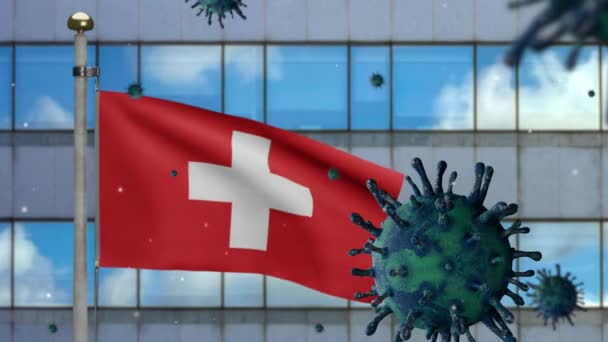 3D, Flu coronavirus floating over Switzerland flag with modern skyscraper city. Swiss banner waving with pandemic of Covid19 virus infection concept. Real fabric texture ensign-Dan