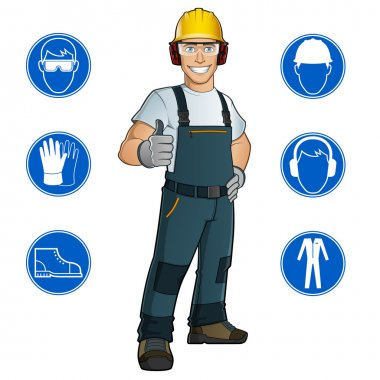Man dressed in work clothes stock vector