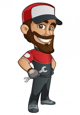 Sympathetic mechanic with a wrench in his hand and a cap stock vector
