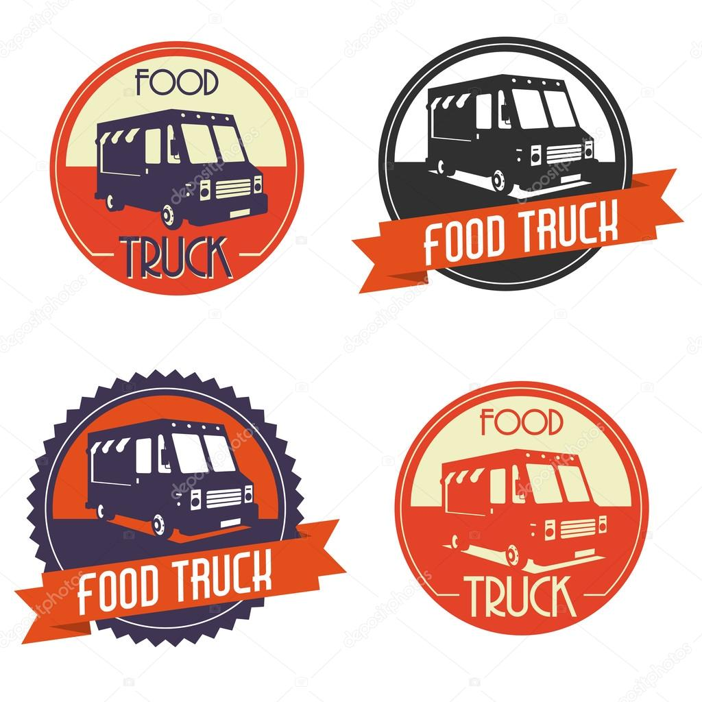 Different logos of food truck, the logos have a retro look
