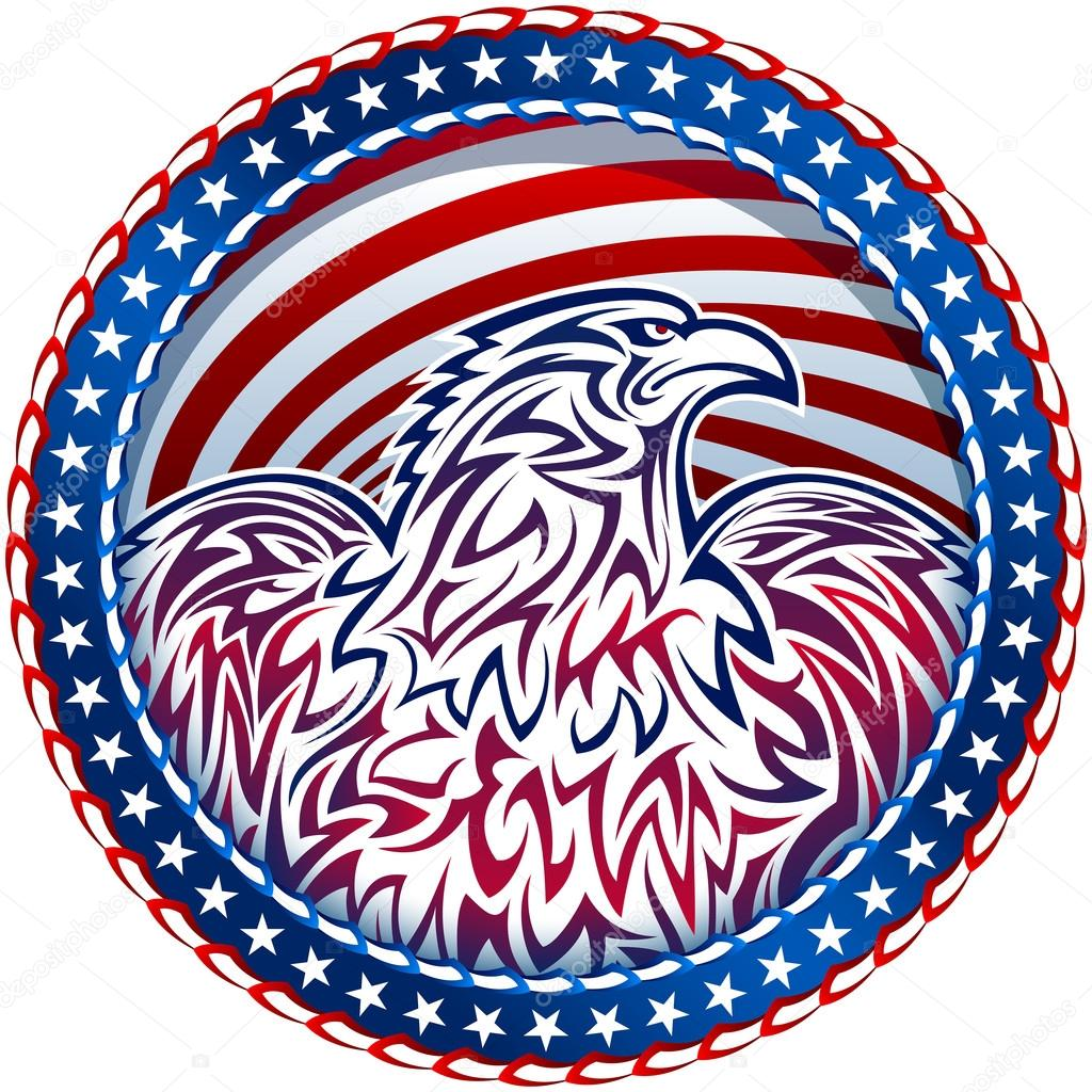 American Eagle Natioal Symbol Usa Fourth July Emblem Color Stock
