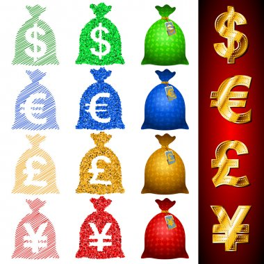 Currency Sack Dollar USD Euro EUR Pound GBP Yen JPY