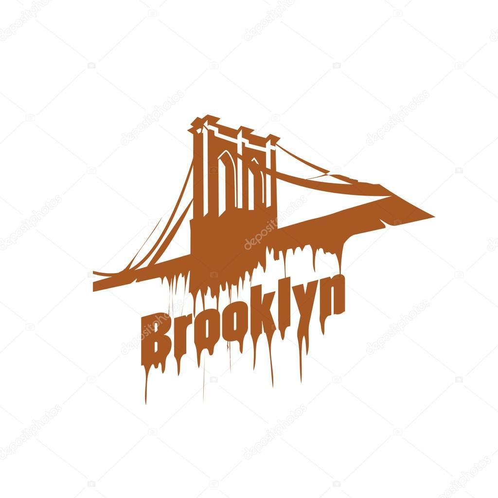 New York  Brooklyn Bridge Design emblem. Graffiti style