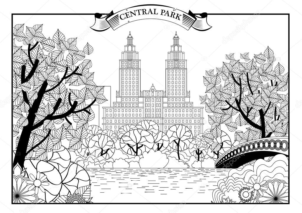 Landscape of Central Park in New York. USA. Black and white graphic. Vector illustration